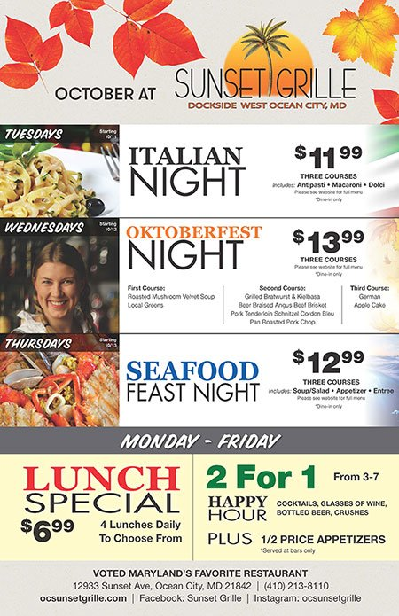 October Specials at Sunset Grille